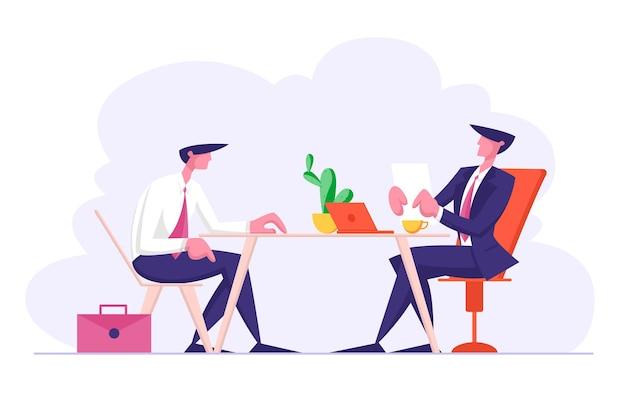 Entrevista de trabalho com o gerente do comitê de seleção fazendo perguntas