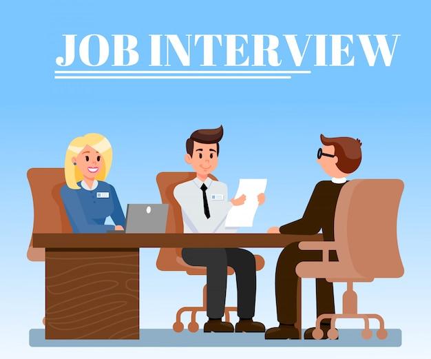 Entrevista de trabalho em ilustração vetorial de escritório plana
