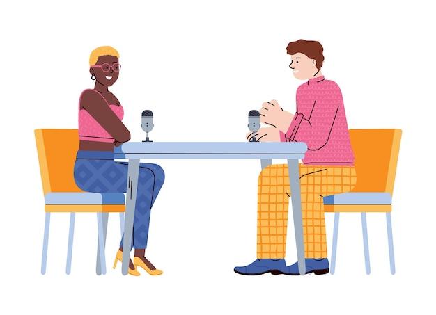 Entrevista em podcast de rádio com ilustração de personagens de desenhos animados