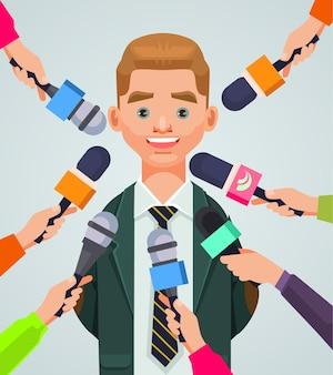 Entrevista homem personagem cartoon ilustração