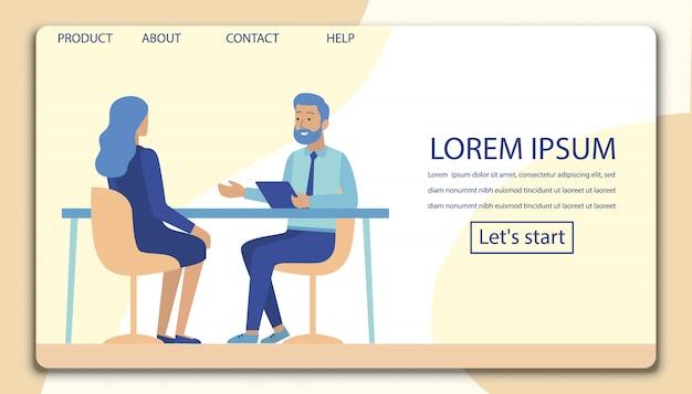 Entrevista, negociação, meeting flat landing page