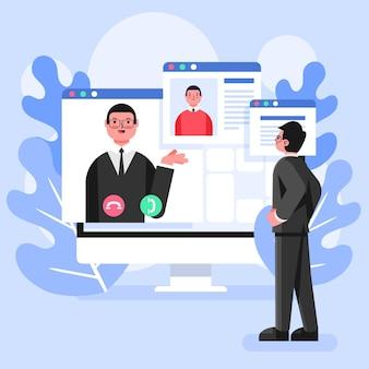 Entrevista online de funcionário e empregador