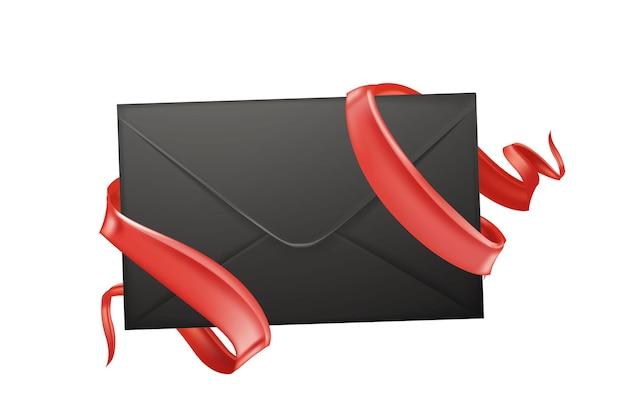 Envelope 3d realista com ilustração elegante de fitas de seda vermelha