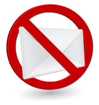 Envelope 3d sem ícone de conceito de spam
