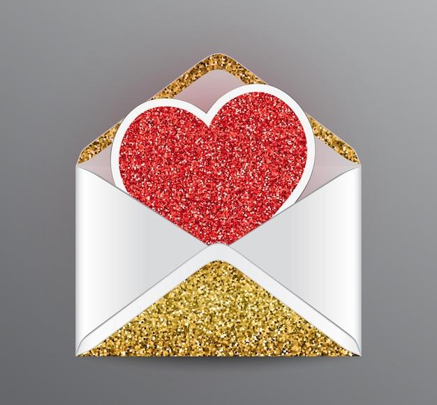 Envelope aberto com elementos de brilho dourado e coração vermelho brilhante