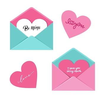 Envelope aberto com grande coração nele