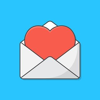 Envelope aberto com ilustração de ícone de cartão de coração de amor