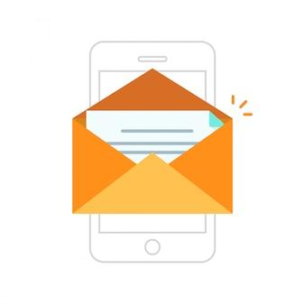 Envelope aberto com nova mensagem no contorno de linha do vetor smartphone ou celular