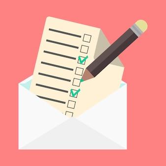 Envelope aberto e lista de verificação