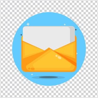 Envelope amarelo com uma folha de papel em branco em um fundo em branco
