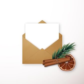 Envelope artesanal com decoração de inverno