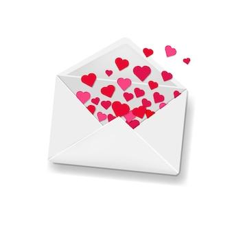 Envelope branco com fundo de corações