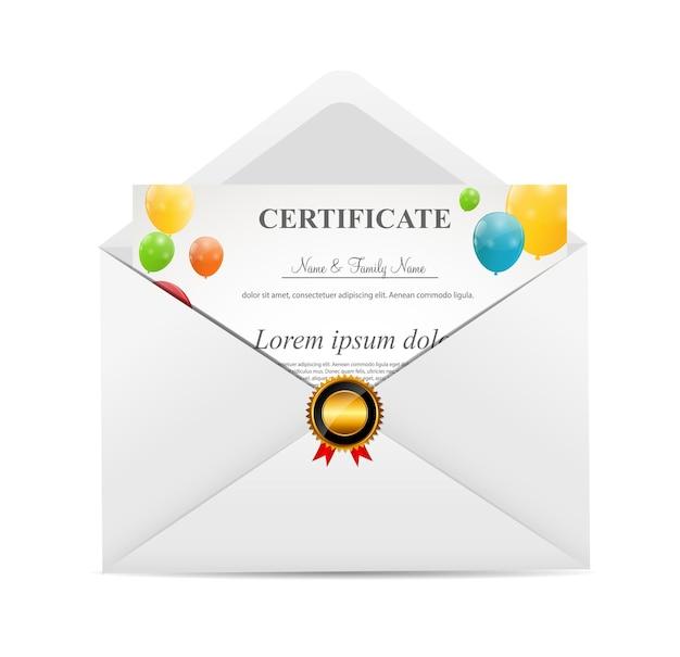 Envelope branco com ilustração vetorial de certificat