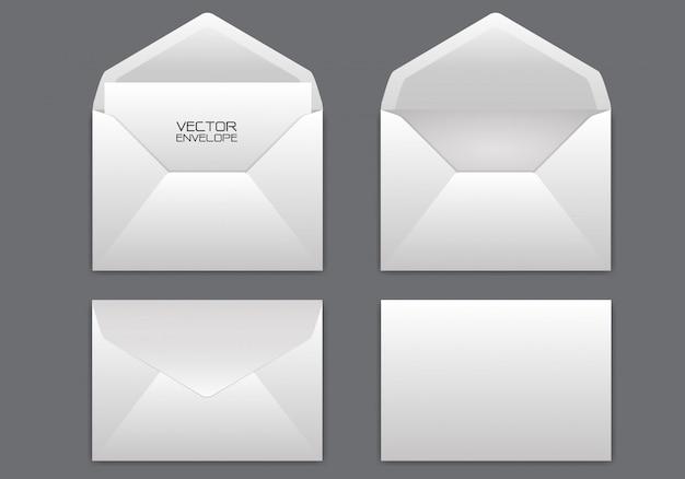 Envelope branco realista em fundo cinzento.