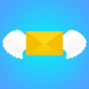 Envelope com asas.