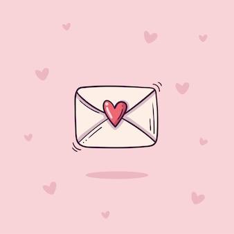 Envelope com carimbo de coração em estilo doodle em fundo rosa com corações