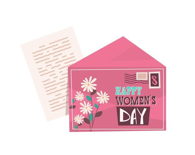 Envelope com carta dia das mulheres 8 de março feriado celebração banner panfleto ou cartão comemorativo ilustração horizontal