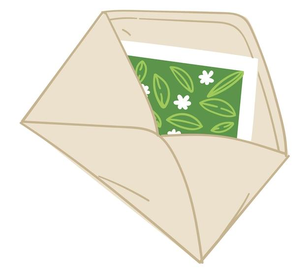 Envelope com cartão de felicitações ou vetor de convite