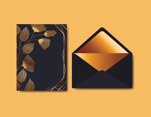 Envelope com convite e decoração floral