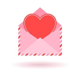 Envelope com coração vermelho