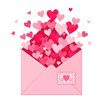 Envelope com corações. objetos desenhados à mão. estilo de desenho animado.