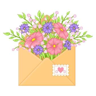 Envelope com flores. objetos desenhados à mão. estilo de desenho animado.