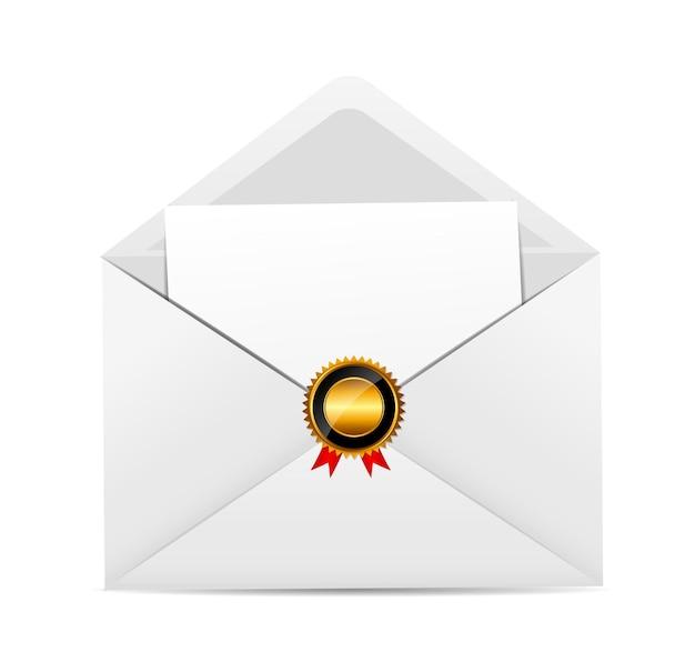 Envelope com ilustração vetorial de carimbo dourado