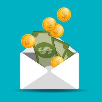 Envelope com nota de moeda economizar dinheiro