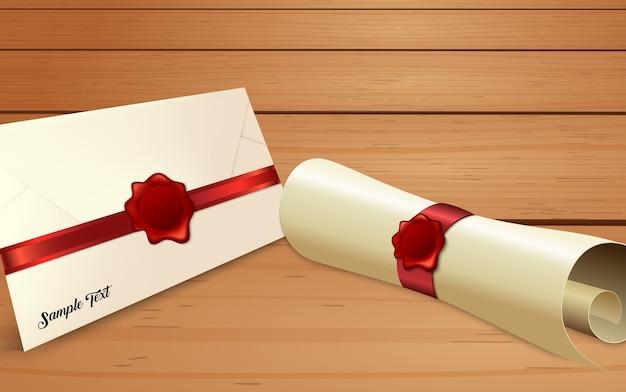 Envelope com rolo de papel com selo de cera vermelho