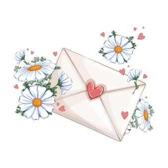 Envelope com selo com corações e delicadas margaridas graciosas.