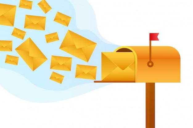 Envelope com um conceito de boletim. abra a mensagem com o documento. assine o conceito de newsletter. ilustração das ações.