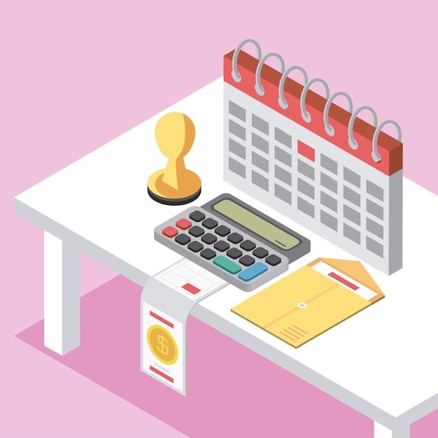 Envelope da calculadora do calendário do dia do imposto