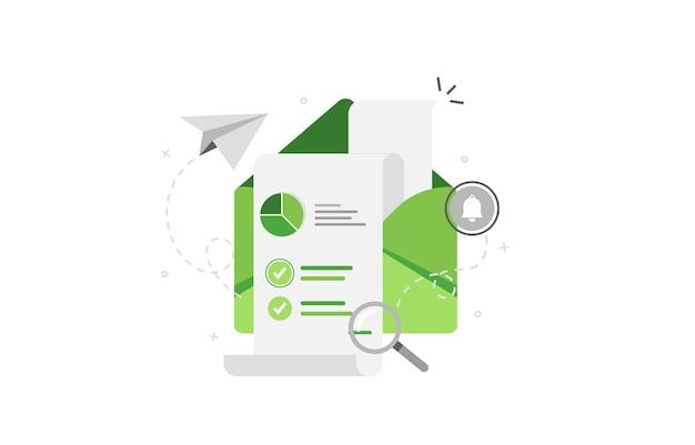 Envelope de análise de vendas em design plano