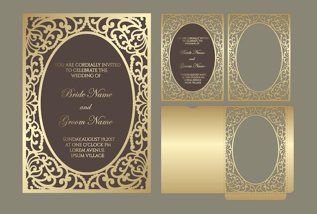 Envelope de bolso de convite de corte a laser de quadro ornamentado. modelo de corte a laser