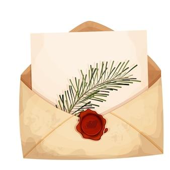 Envelope de carta de natal com papel vazio e lacre de cera vermelha com galho de pinheiro natalino em desenho animado