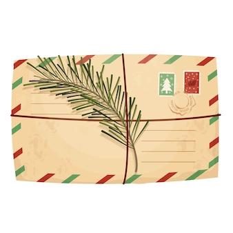 Envelope de carta de natal com selo de selo e galho de pinheiro em estilo cartoon
