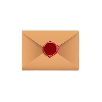 Envelope de carta de papel pardo com selo de cera vermelho escuro em branco