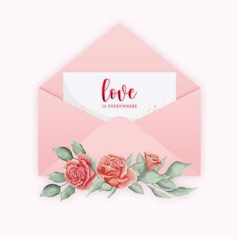 Envelope de cartão de dia dos namorados rosa com aquarela rosas e folhas