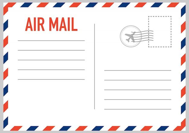 Envelope de correio aéreo com selo postal isolado no fundo branco.