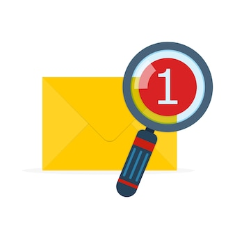 Envelope de correio com lupa em design plano
