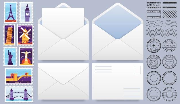 Envelope de correio com selos