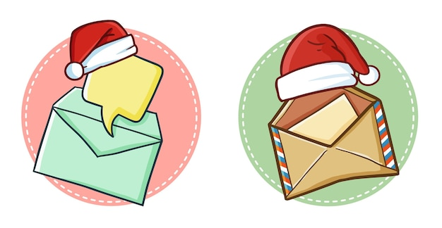 Envelope de correio fofo e engraçado com chapéu de papai noel no natal