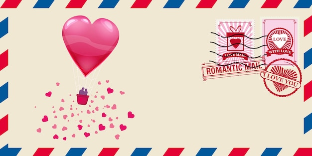 Envelope de correio para o dia dos namorados com balão em forma de coração com abaixadores, carimbo postal