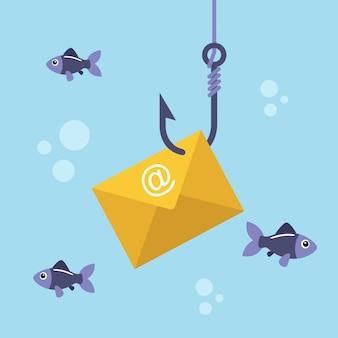 Envelope de e-mail no gancho de pesca