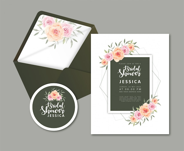 Envelope de flor de convite de chá de panela de cartão de casamento