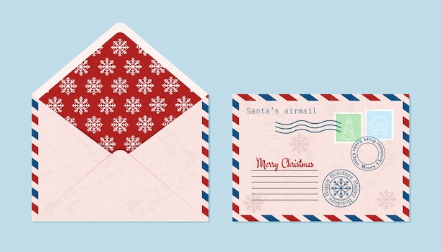 Envelope de natal com selos, selos, aberto e fechado.