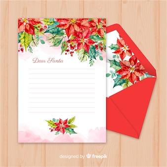 Envelope de natal criativo e carta em aquarela design