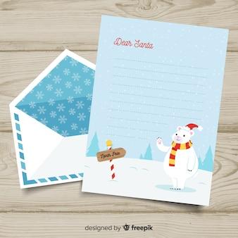 Envelope de natal e carta no estilo desenhado de mão