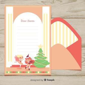 Envelope de natal mostra mão desenhada