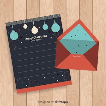 Envelope de natal plana e design de carta